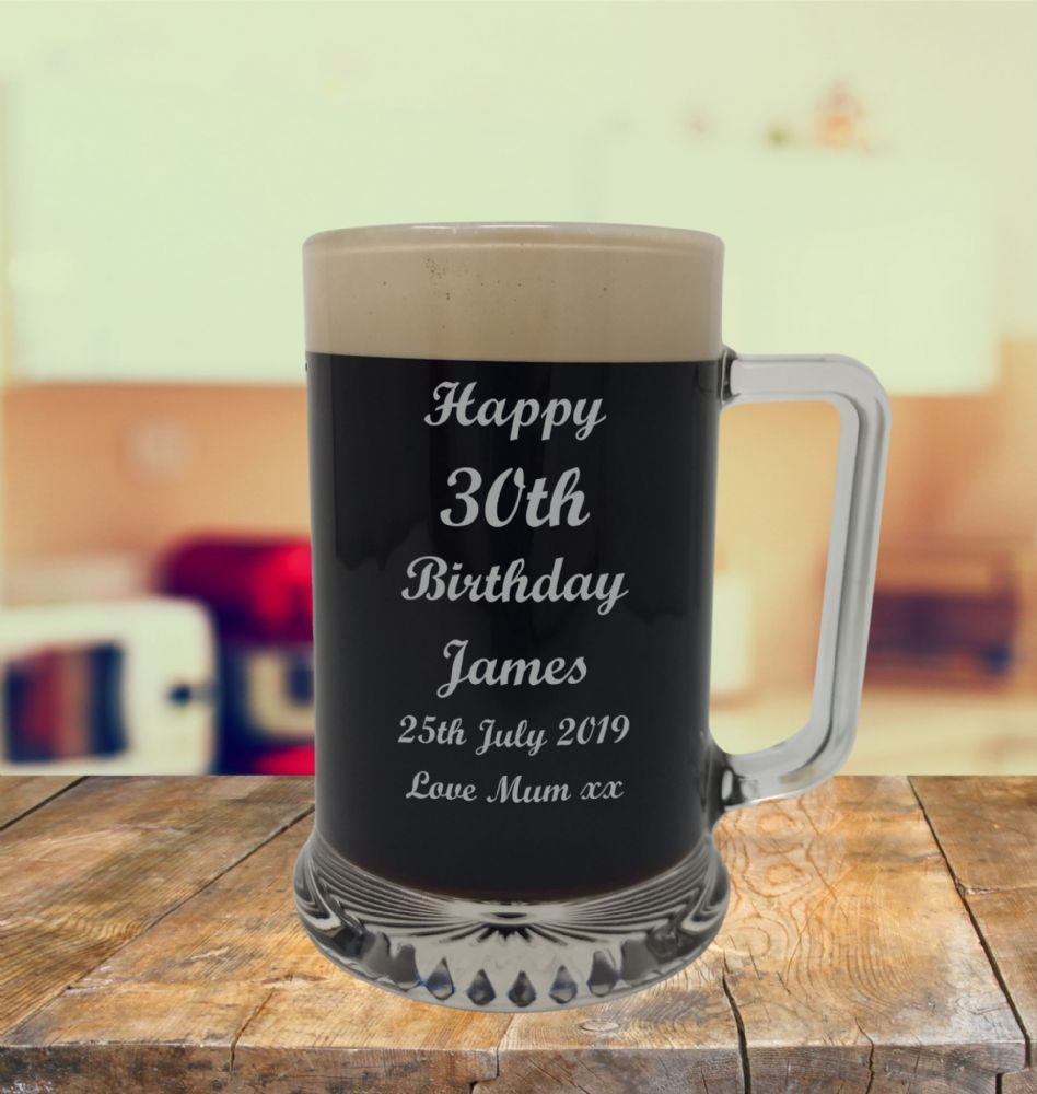 Glass Tankard 30th Birthday, Engraved
